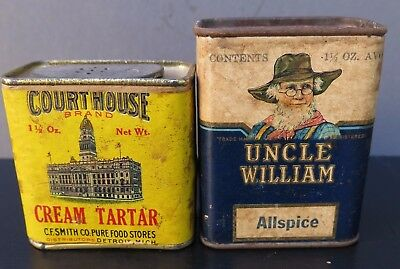 VINTAGE SPICE TINS - 2 for 1 PRICE - COURTHOUSE & UNCLE WILLIAM