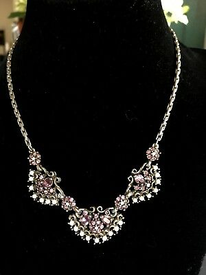 Vintage Victorian Seed Pearl and Pink Stone Amethyst? Necklace