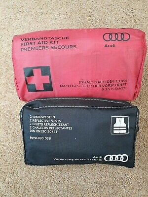 Audi First Aid Kit Brand New Sealed And 2 Hi Vis Vests A1 A2 A3 A4 A5 A6 Q3 5 7