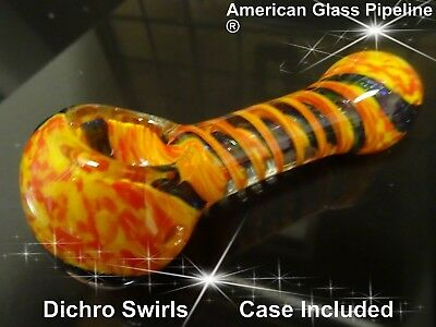 "Swirl w/ Knockers  Glass 4.5""  Hand  Pipe  + Black Case"