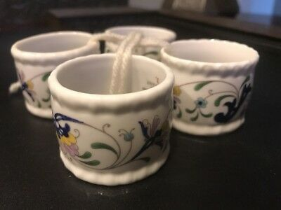 PAGEANT by Coalport 4 Napkin Rings NEW NEVER USED Made in England Bone China