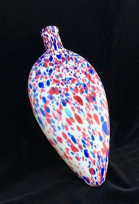 Early to Mid 19th Century Large Spatter Glass Flask Red, White and Blue