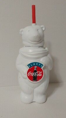 Always Coca Cola Plastic Polar Bear Cup With Straw Coke