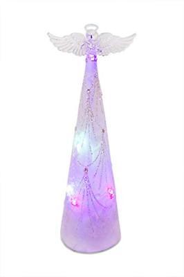 """ReLIVE LED Lighted 11"""" Holiday Color Changing Glass Angel Christmas Decoration"""