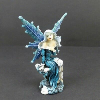 Small Winter Fairy Figurine With Blue Wings Mythical Fantasy Statue