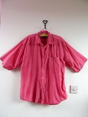 VINTAGE 80s cool PURE SILK over sized  mens/ladies unisex  pink shirt L