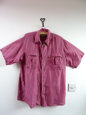 VINTAGE 80s cool PURE SILK over sized  mens/ladies unisex deep pink shirt M/L