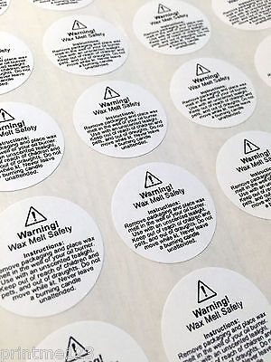 Wax melt usage safety stickers - required by law (small and medium)