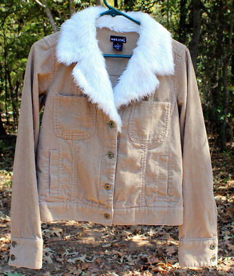 Wet Seal Beige Tan Corduroy Jacket Long Sleeves Faux Fur White