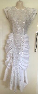 Vintage Retro 1980's 80's White Cocktail Prom Dress With Shoulder Pads Size 8