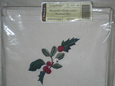 Longaberger Nature's Garland Fabric Napkins Set  of 2 NEW Holly w/ Berry accents