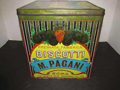 Antique Advertising Tin M. Pagani Biscotti from Italy