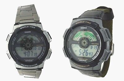 New Casio Collection Watch World Time 5 Alarms 10 Year Battery WR 100m AE1100