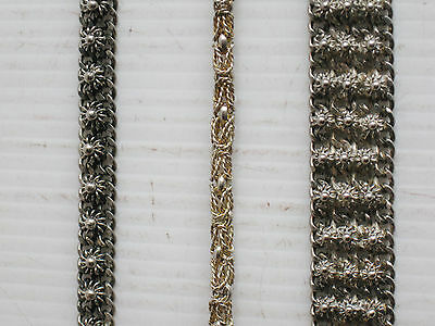 """3 OLD COSTUME JEWELRY METAL DANCE BRACELETS 43grams 6 3/4"""" long THAILAND SIAM"""