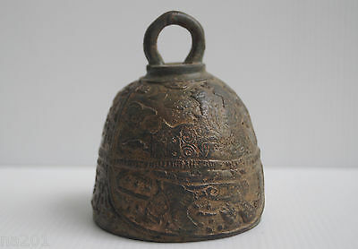 """Rustic Thai Bronze Cast Metal Buddha 3"""" Wide Temple Bell With Elephants Thailand"""