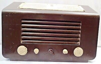 His Master Voice Vintage Tube Radio Wooden Cabinet Made In England Collectibles
