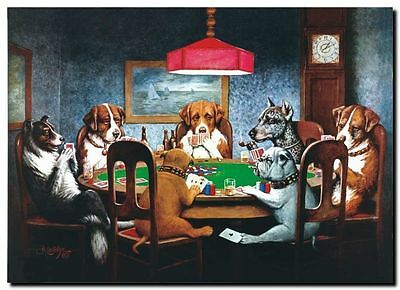 Dogs Playing Poker Hot Art Poster B-390 dogs poker QUALITY CANVAS ART PRINT