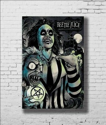 P-317 Art Beetlejuice Tim Burton Movie Silk Poster LW-Canvas Poster - 21 24x36in