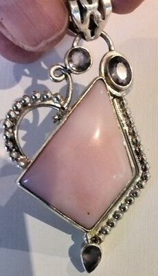 Sterling silver 925 large pendant light pink shell purple amethyst stone NEW
