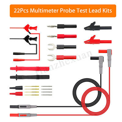 22Pcs Replaceable Multimeter Probe Test Lead Kits Hook Banana Plug U Insert