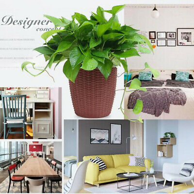 Baoblaze Self-Watering ABS Rattan Flower Pot Plant Home Office Decor S/M/L