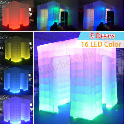 3 Door 110V Inflatable LED Photo Booth Cube Tent Weddings Birthday Event Party !