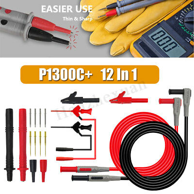 P1300C+ 12-in-1 Super Multimeter Replaceable Probe Test Lead Kits+Alligator