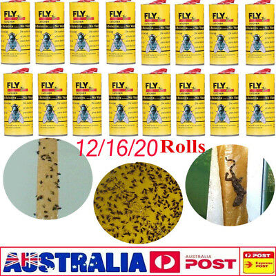 4-20 Rolls Insect Bug Fly Glue Paper Catcher Trap Ribbon Tape Strip Sticky Flies