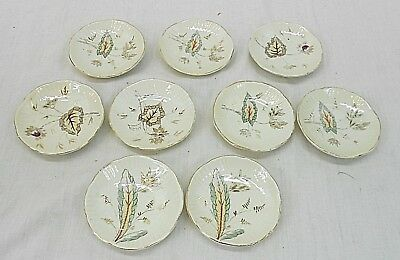 Fine China, 9  Butter Pat Dishes, Unknown Maker, Various Patterns, Same Theme