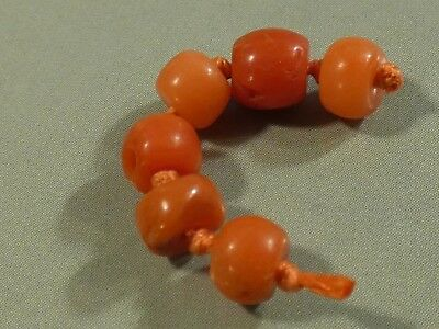 Antique Natural Red Indo Nepali Coral Beads Six Bead Strand Up 6 By 5 Mm