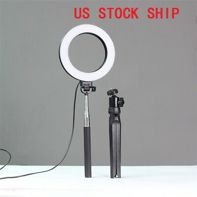 Dimmable LED SMD Ring Light Diffuser Mirror Stand Make Up Studio Light US Ship