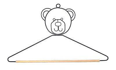 "Wire Quilt Hanger with ""Bear Head"" on Top & 10"" Wood Dowel"