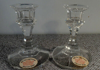 "Vintage*AMERICAN MADE*Crystal Candle Holders""Original Labels"""