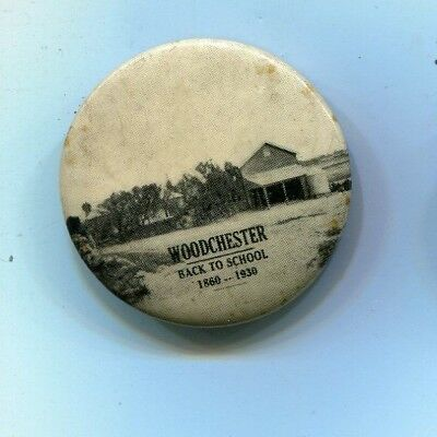 Tinplate tinnie badge Back to Woodchester  1930