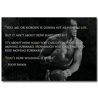 Motivational Quotes Rocky Balboa Inspirational Success Poster Decor Vintage 32/""
