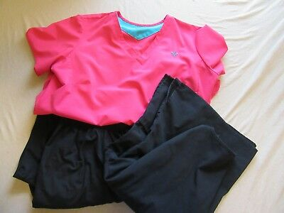Womens Wonderwink Couture Gold Scrubs Lot Size 2X Tops / XLT Pants Black Pink