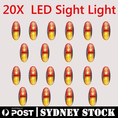 20X 12/24V DC Red Amber Side LED Marker Tail Light Lamp Clearance Trailer CE