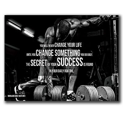 """E2473 Art Motivational GYM Body Building Quotes Exercise Poster Hot Gift 36"""""""