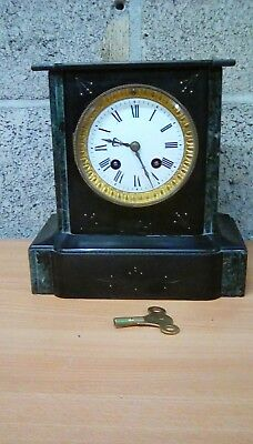 French Marble/Slate Mantle Clock complete with no-7 key working order