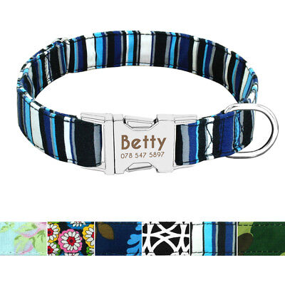 Personalised Nylon Large Pet Collars Soft Custom Dog Collars Nameplate Small