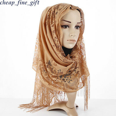 Muslim Lace Scarf Hijab Shawls Tassel Long Scarves Women Headwear Turban Cape
