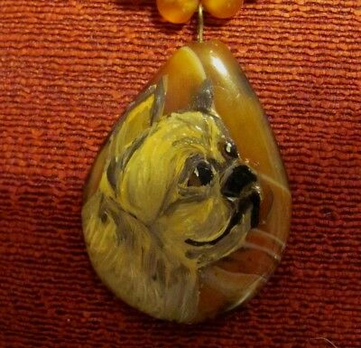 Brussels Griffon, smooth, handpainted on raindrop shaped Onyx Agate pendant/bead