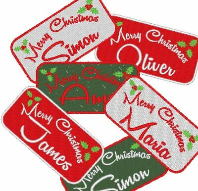 Personalised, Embroidered Name Tag, Patch. Your Name, CHRISTMAS STOCKING XMAS