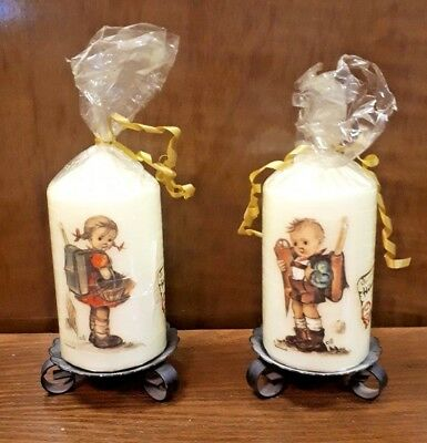 RARE Goebel Hummel Pair of Vintage Pillar Candles on Stand Still wrapped