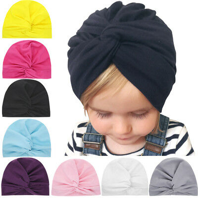 Newborn Toddler Kid Baby Boys Girls Solid Knot Turban Beanie Hat Headwear Cap 9