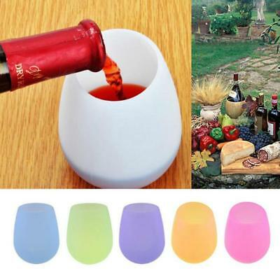 Unbreakable Stemless Silicone Wine Glasses Candy Color Foldable Outdoor Cup RU