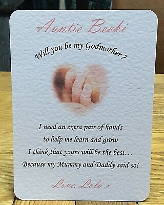 Personalised Will You Be My / Our Godmother Godfather Godparents Request Card