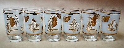 BEAUTIFUL SET OF SIX VINTAGE RETRO DRINKING GLASSES TUMBLERS 1960s