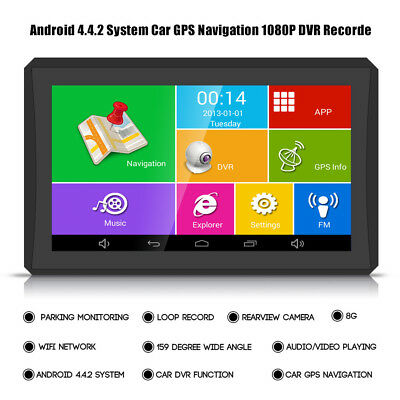 7'' Android 4.4 Car Truck GPS 1080P DVR Recorder FM 512MB 8G Europe Free Map UK