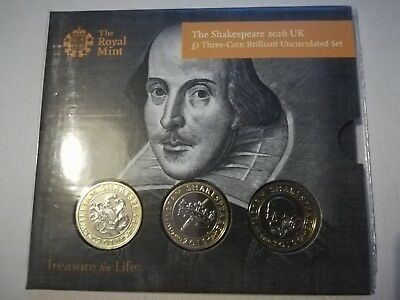 2016 Shakespeare Two Pound Coin £2 Presentation Pack, Three Coins,  BU Unopened
